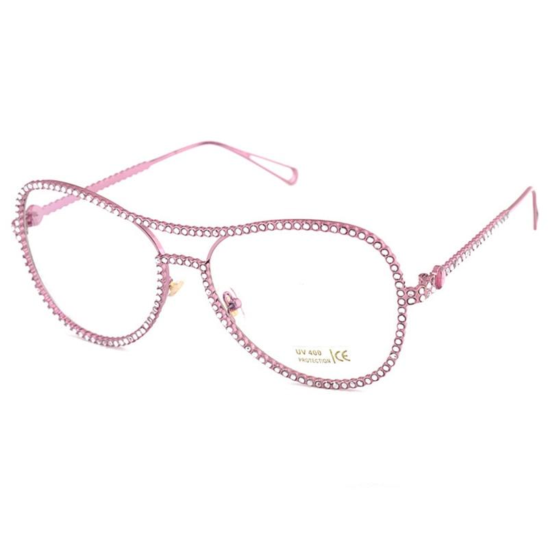 Begeistert 2018 Brillen Brillen Frauen Übergroße Metallrahmen Klare Linse Strass Brillen Nerd Brille Luxus Optische Spektakel Bekleidung Zubehör