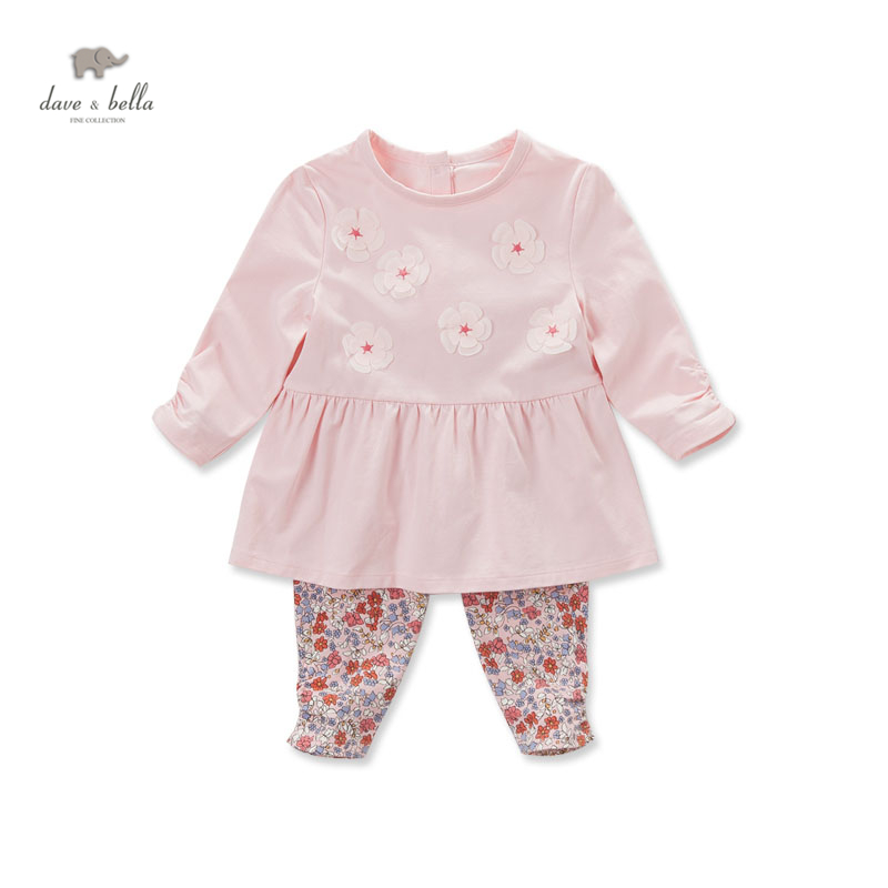 DB3741 dave bella autumn baby girls pink flower clothing sets kids floral clothing sets toddle cloth kids sets baby costumes db4065 dave bella autumn baby girls cute lolita clothing set kids sets