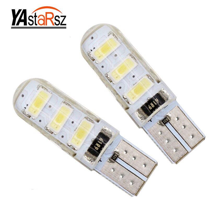 YAstarsz 1шт Лампа T10 192 W5W и 6 SMD 5630 5730 светодиодные силиконовые Водонепроницаемый Клин парковка Световой индикатор Автоматическая очистка лампы 12V