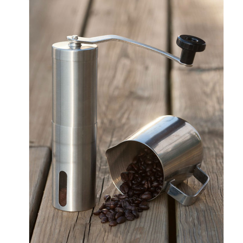 Manual Coffee Grinder | Conical Burr Mill for Precision Brewing | Brushed Stainless Steel manual coffee grinder conical burr mill stainless steel portable hand burr grinders