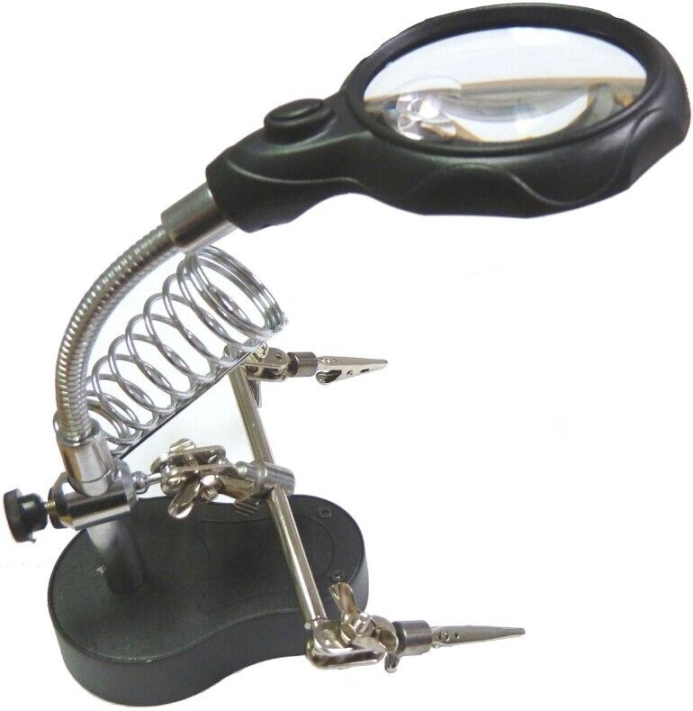 LIXF-Neue 3.5x12x 3rd Helfende Hand Vergrößerungs Löten LED Eisen Stehen Objektiv Lupe