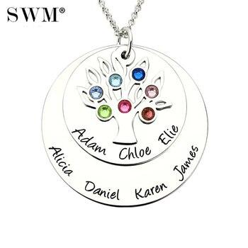 369fea4d4701 Las mujeres de nombre personalizado collar Árbol de la familia de collares  de la vida de