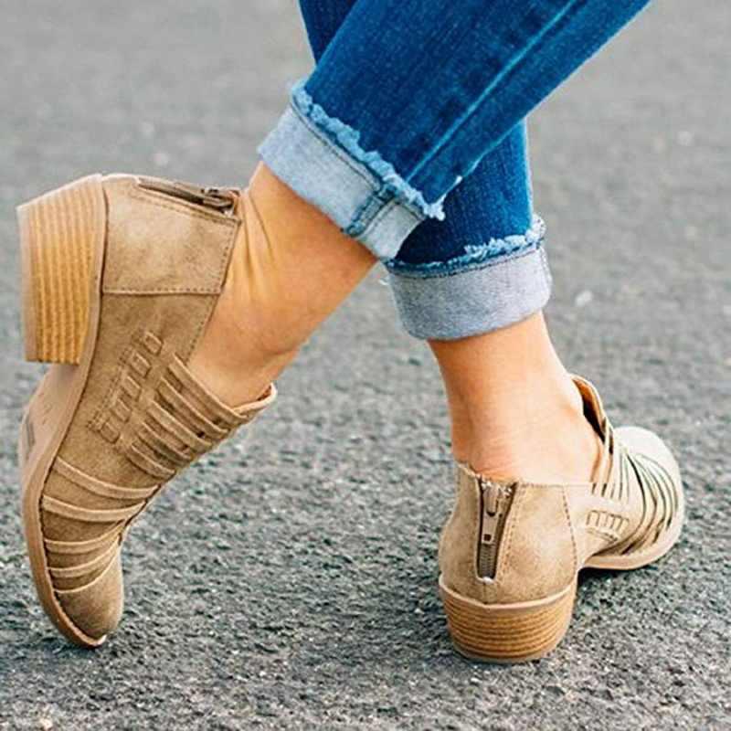 2019 Kadın Rahat bileğe kadar bot Üzerinde Kayma Kesilmiş Alçak Topuk PU deri kısa çizmeler Kadın Sonbahar Kış moda ayak sivri ayakkabı çizme