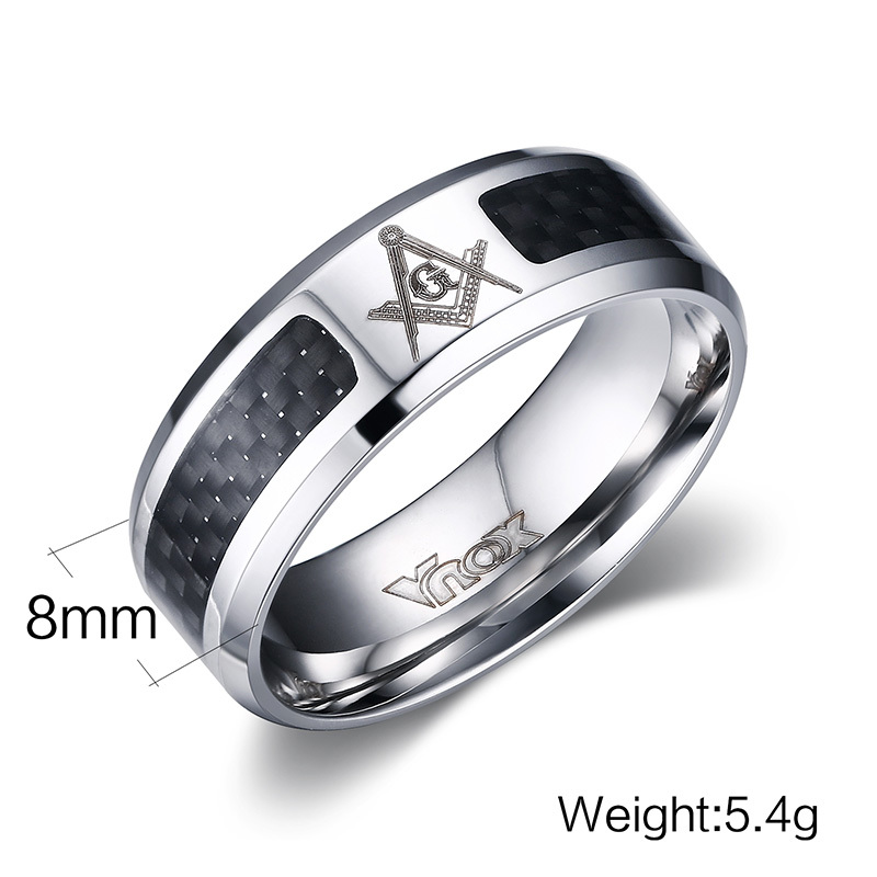 vnox masonic men ring stainless steel carbon fiber 8mm punk wedding jewelry us size 4 5 6 7 8 9 10 11 12 in rings from jewelry accessories on - Carbon Fiber Wedding Rings