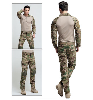 Outdoor Suits include kneepads Elbow pads Camping Men camo Jacket pant training military hunting male Wear-resisting set