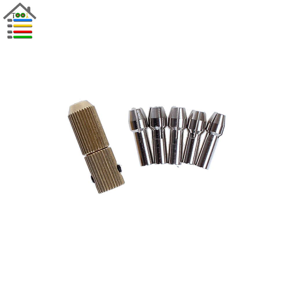 New Copper Chuck with 5pc Brass Collets Set Fit 2.0mm Electric Motor shaft for 0.5-3.17mm Micro Replaceable Twist Drill Bit new bullet head bobbin holder with ceramic tube tip protecting lines brass copper material