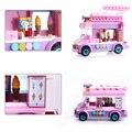 213 pcs cidade sorvete caminhão lego compatível enlighten building blocks crianças educacionais tijolos de gelo carrinho móvel mini brinquedos
