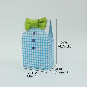 Image 5 - 50 pcs My Little Man Blue  Bow Green Tie Birthday First Communion Boy Baby Shower Candy Bag Wedding Favors Candy Box Gift Bags