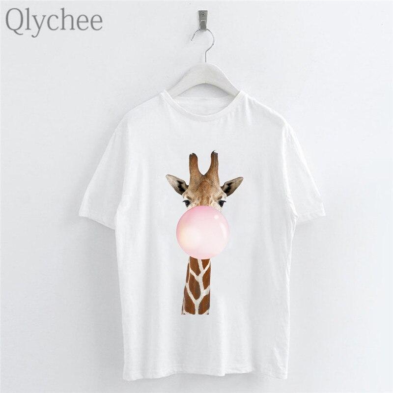 Ladies T-Shirt Giraffe Summer Womens Casual Tops Blouse Short Sleeve Crew Neck