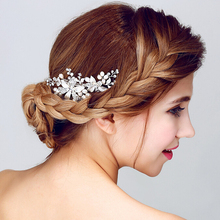 SLBRIDAL Handmade Rhinestones Crystal Freshwater Pearls Flower Wedding Hair Comb Clip Barrettes Women Bridal Accessories