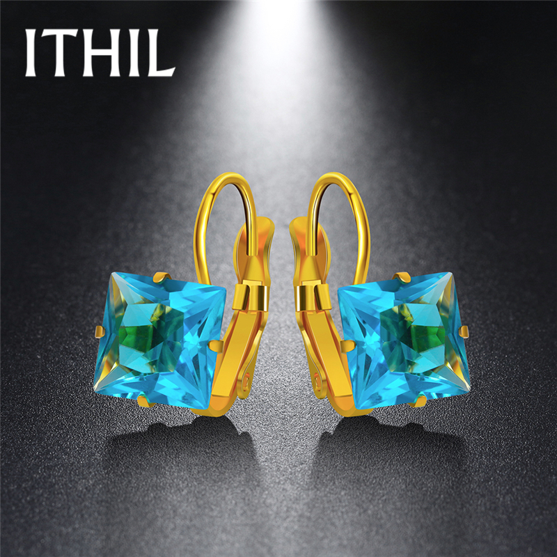 ITHIL 5 Color Gold-color Stainless Steel Earrings for Women Fashion Jewelry Korean Zircon Hoop Earring Aros Brincos Black Friday
