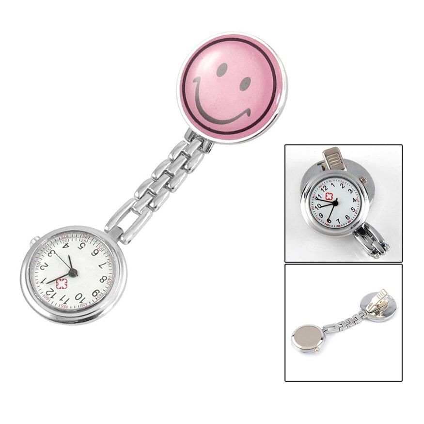 Pink Smiling Face Design Brooch Arabic Numerals Nurse Watch For Women