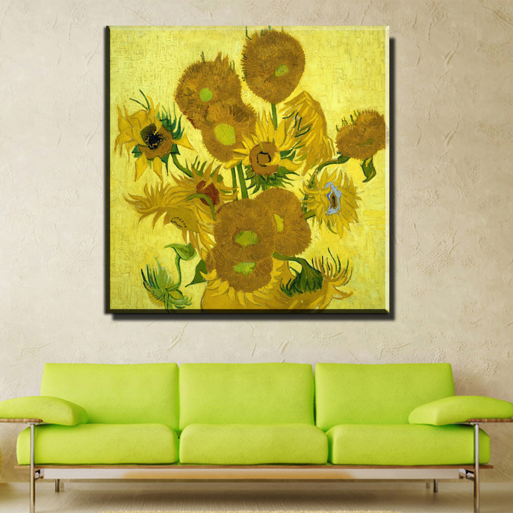 ZZ993 Van Gogh sunflower canvas oil art painting wall pictures for ...