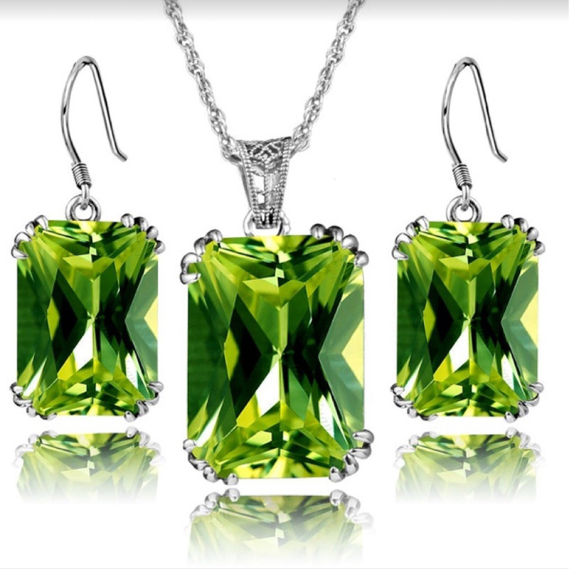 Luxury Waterdrop Square Colorful Rhinestone Pendant Necklace Austrian Green Crystal Dangle Earrings <font><b>Jewelry</b></font> <font><b>Sets</b></font> <font><b>for</b></font> Women <font><b>2019</b></font> image