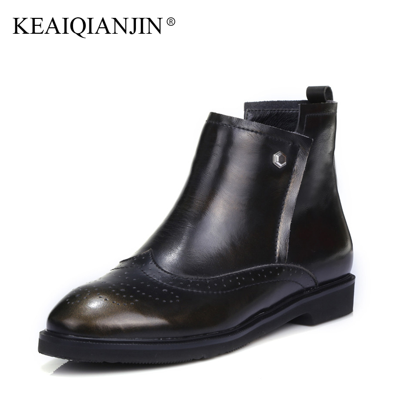 KEAIQIANJIN Woman Genuine Leather Chelsea Boots Rivet Plus Size 33 - 43 Autumn Winter Martens Boots Bronze Wine Red Ankle Boots keaiqianjin woman genuine leather martens boots black beige plus size 33 43 autumn winter shoes genuine leather ankle boots