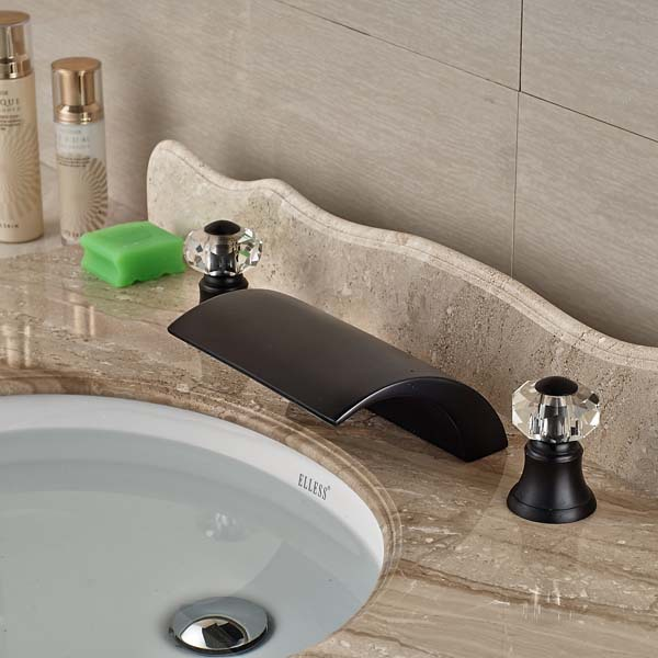 Crystal Widespread Oil Rubbed Bronze Waterfall Bathroom Basin Faucet Widespread Vanity Mixer Tap wholesale and retail modern oil rubbed bronze bathroom basin faucet teapot vanity sink mixer tap countertop mixer tap