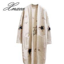 Xnxee autumn and winter new long sweater sweater cardigan sweater women's jacket Korean embroidery fashion sweater sweater funk since 1776 sweater