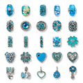 VIOVIA Mix 25Pc/Lot Cute Plated Silver Blue Crystal Charm Bead Fit Original Pandora Bracelet Pendant Women Diy Jewelry SET160904