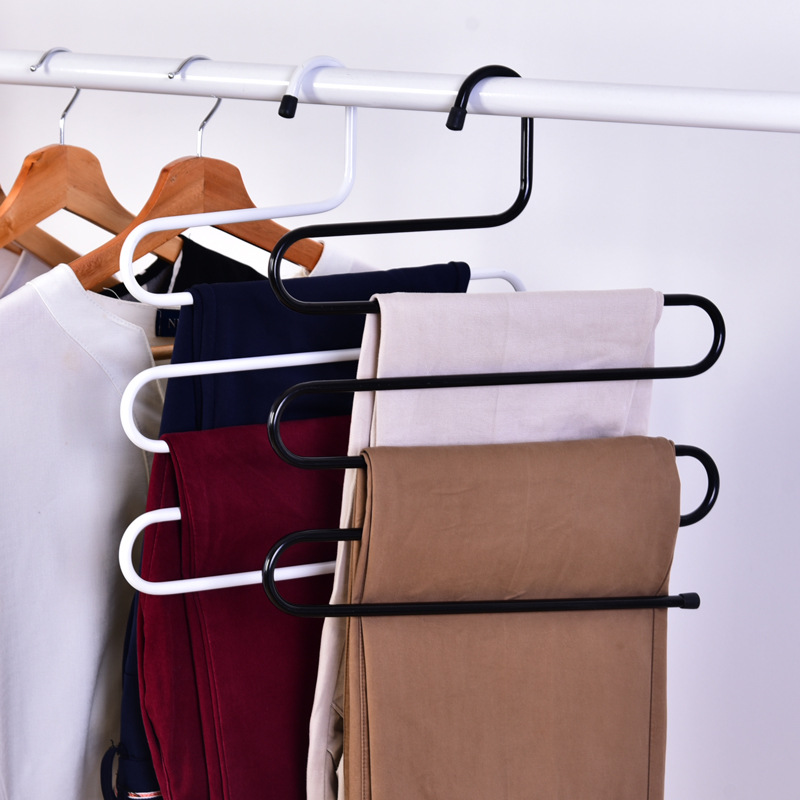 363409cm pants hanger rack 5 layer s shape trousers holders towels clothes apparel hangers space saving wardrobe hanger - Clothes Hanger Rack