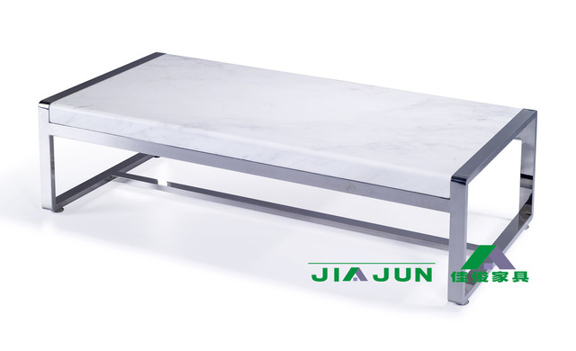 Jazz Natural White Marble Coffee Table Stainless Steel Fashion Simple