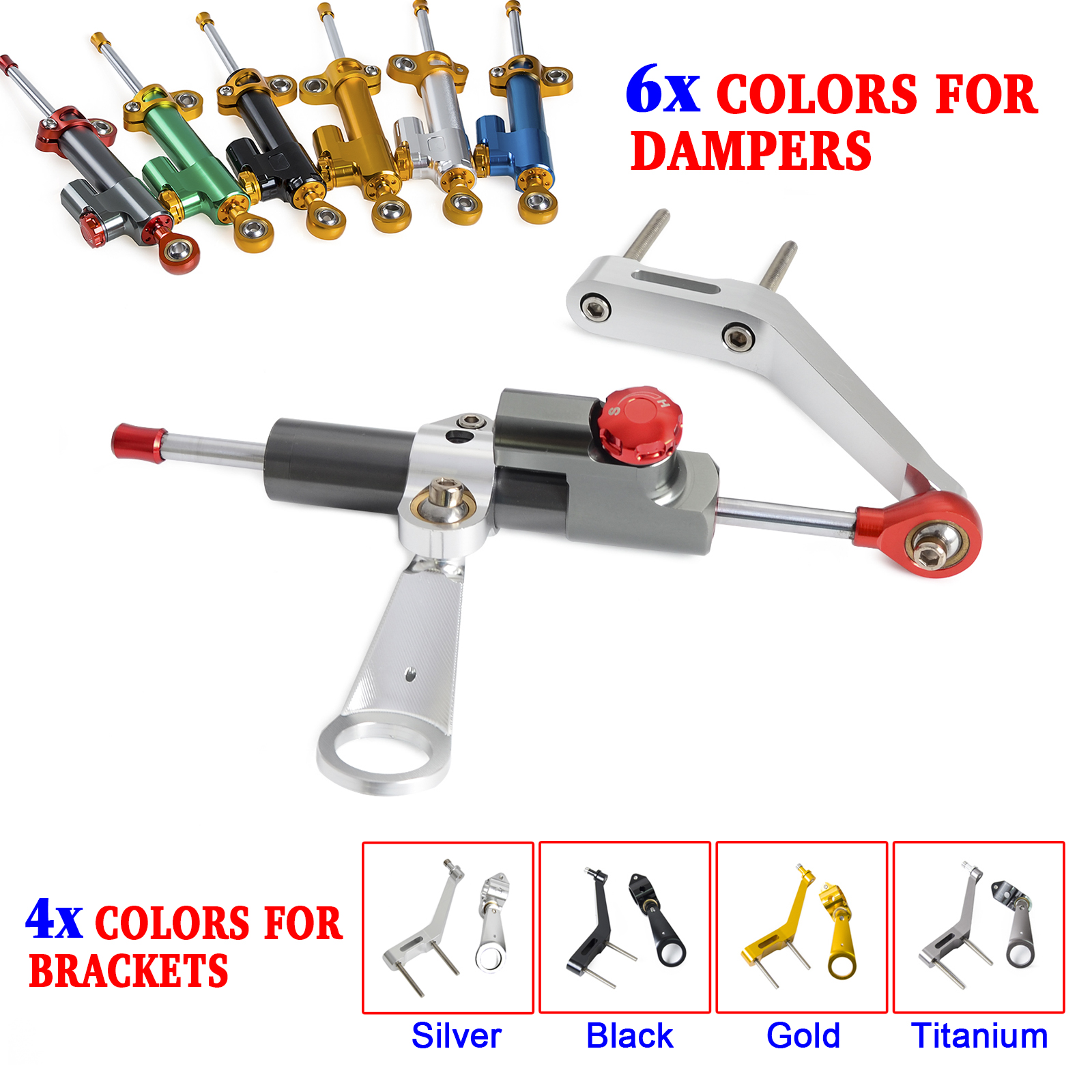 Motorcycle CNC Steering Damper Stabilizer & Bracket Kit For Honda CBR954RR 2002 2003 CBR 954 RR 954RR стоимость