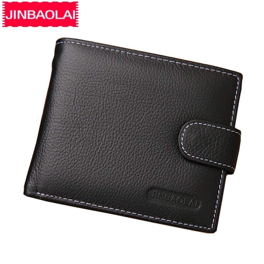 JINBAOLAI de los hombres de Cuero billeteras muestra sólida estilo monedero de cremallera tarjeta Horder de cuero de marca famosa de alta calidad cartera hombre