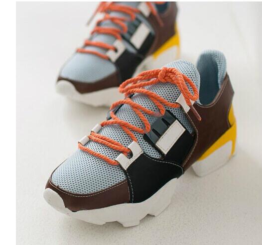 ФОТО Hot! 2014 Korean Spring Summer Slugged Bottom Shoes Fashion Casual Net Shoes Increasing Shoes Female G428