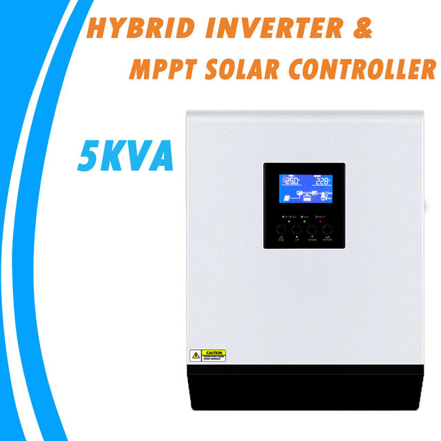 Гибридный инвертор немодулированного синусоидального сигнала 5KVA 48V 220V Встроенный MPPT 60A PV Контроллер заряда и зарядное устройство переменного тока для домашнего использования