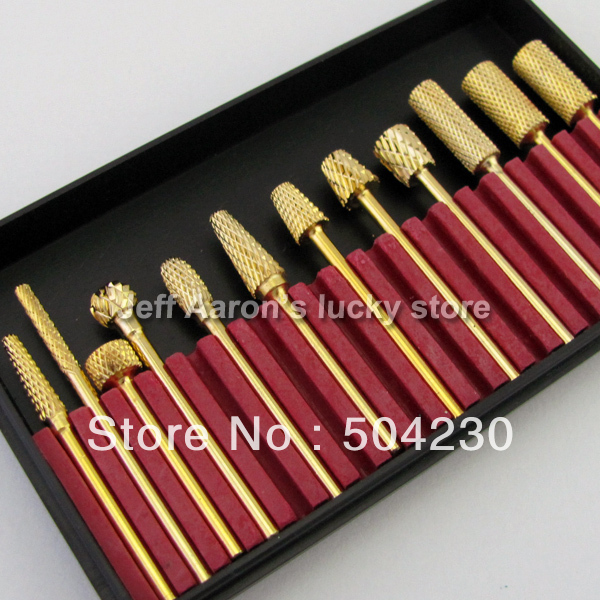 12PCS Professional Gold coated Carbide Nail Drill Bits Set For ...