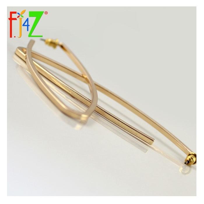 F. J4Z 2017 Mode Lange Ohrringe Für Frauen goldene Metall Oval Club - Modeschmuck - Foto 4