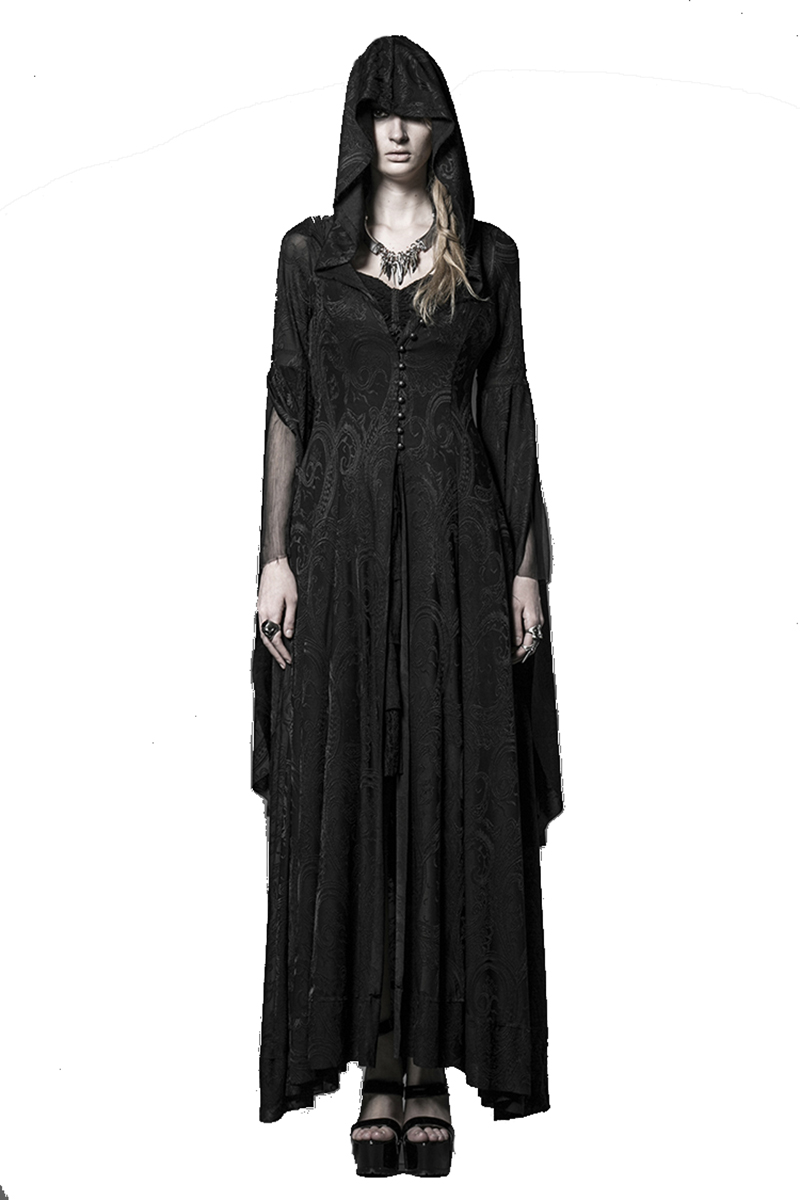Steampunk Knitting Jacquard Vintage Kjole Gothic Long Hooded Dress Kvinners High Priestess Witch Dresses
