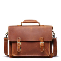 Men thick crazy horse leather Laptop rucksack Large capacity genuine leather 17 PC work tote 3 use weekend bag shoulder bag