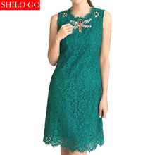 Free shipping 2016 new summer fashion women high quality dark green lace embroidered sleeveless dress beaded diamond dragonfly