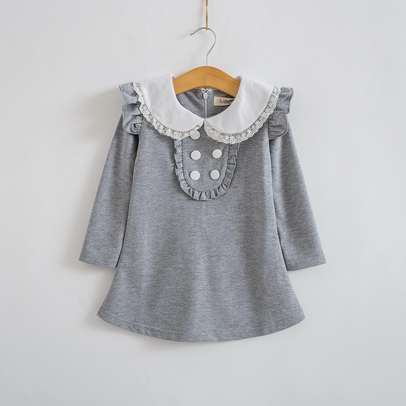 HTB1VHoNJpXXXXbJXFXXq6xXFXXXF - 2017 spring autumn new arrival cotton girl korean clothes doll collar long sleeved casual girls A-line mini dress kids clothing