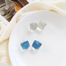 Delicate New Jewelry Simply Blue Square Resin Stud Earrings For Women