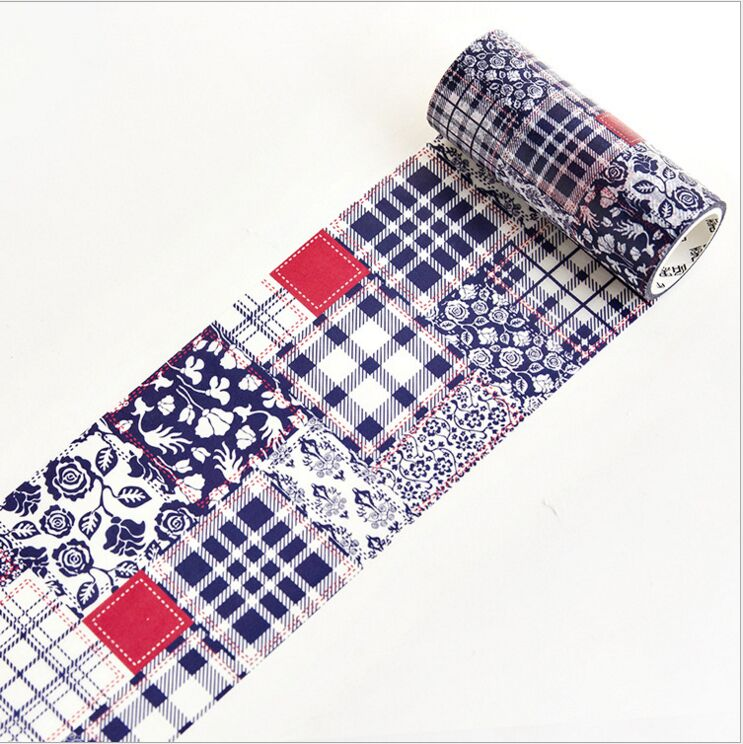 100mm Wide Vintage Printing Blue Plaid Check Collage Decoration Washi Tape DIY Planner Diary Scrapbooking Masking Tape Escolar