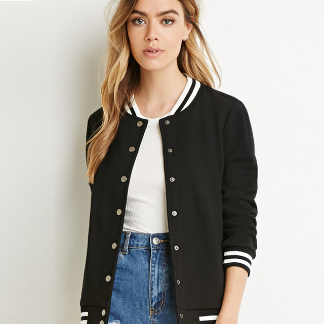 Black Baseball Jacket Womens - Pl Jackets