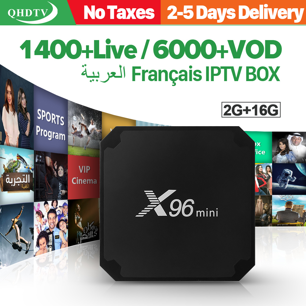 X96 мини IP ТВ французский коробке 2 г 16 г S905W Android 7.1 QHD ТВ 1 год IP ТВ подписки 1300 + IP ТВ арабский Бельгии голландский французский IP ТВ