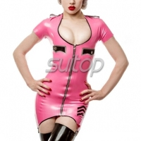 Suitop nature latex uniform dress sexy rubber latex garment Military Army police dress
