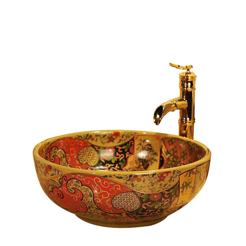 Купить с кэшбэком Western antique chinese ceramic colored bathroom sink hand wash bowls