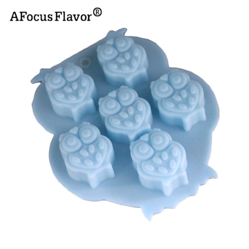 1 шт. 6 отверстий 3D сова силиконовые формы Кухня сделать торт лоток льда Шоколад плесен ...