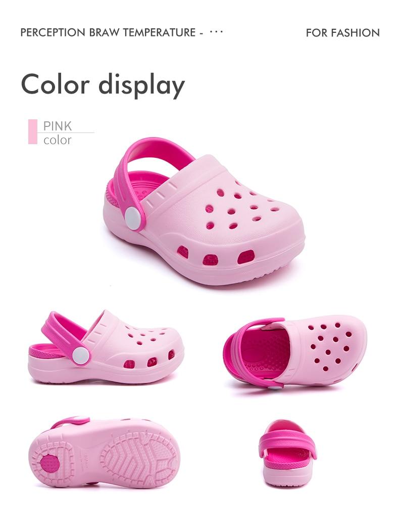 TZLDN Girls Boys Clogs Garden Shoes Summer Hollow Children Slippers Contrast Color Kids Beach Sandals EVA Eco-friendly Shoes