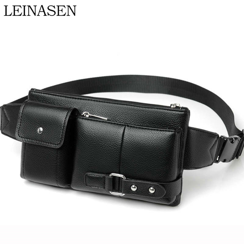 Multi-Function Men Waist Bag Many Departments Male Waist Pack Pouch Soft Leather Fanny Pack Man Belt Bag Chest Bag High Quality