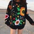 Bordado de la vendimia de punto mujer pelo pesado manual estéreo suéter bordado suéter de punto