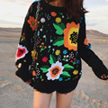 Vintage embroidered spot hair female heavy manual stereo embroidery sweater knitted pullover