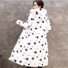 New Women's Down Cotton Parkas Winter 2016 Fashion Five-pointed star Glasses Pattern Thick Warm Slim Cotton-padded Coat Female