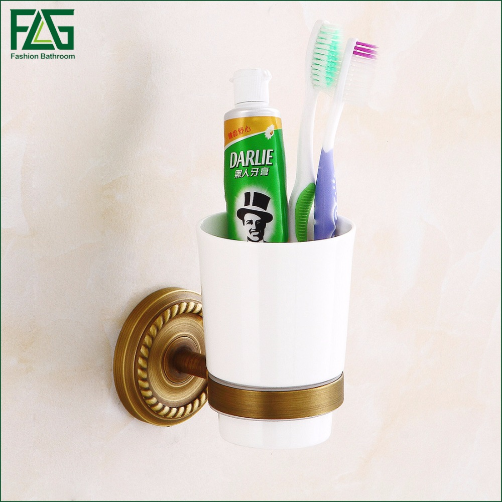 FLG Home Decoration Washroom Toothbrush Holder Antique Copper Single Tumbler&cup Holder Wall Mount  Bathroom Accessories 80104A flg new modern accessories european style oil rubbed bronze copper toothbrush tumbler