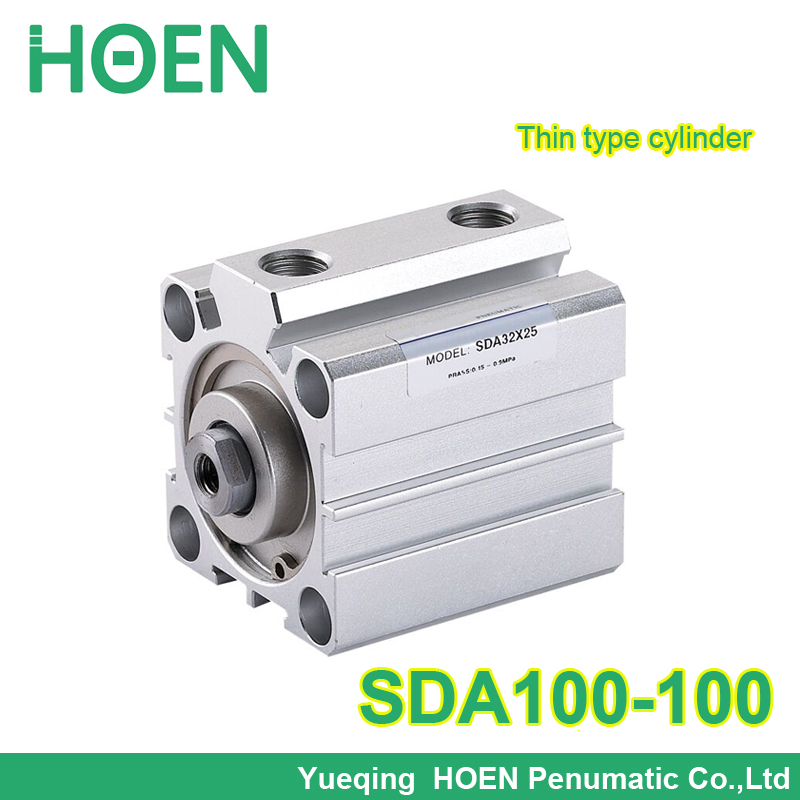 SDA100-100 Airtac type SDA series 100mm Bore 100mm Stroke Pneumatic Air Compact Cylinder SDA100*100 bore 6mm x 10mm stroke cjp series panel mount type needle cylinder pneumatic air cylinder