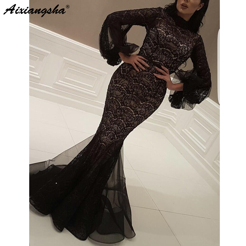 Black Muslim   Evening     Dresses   2019 Mermaid Long Sleeve Lace High Neck Islamic Dubai Saudi Arabic Long Formal   Evening   Gown Prom