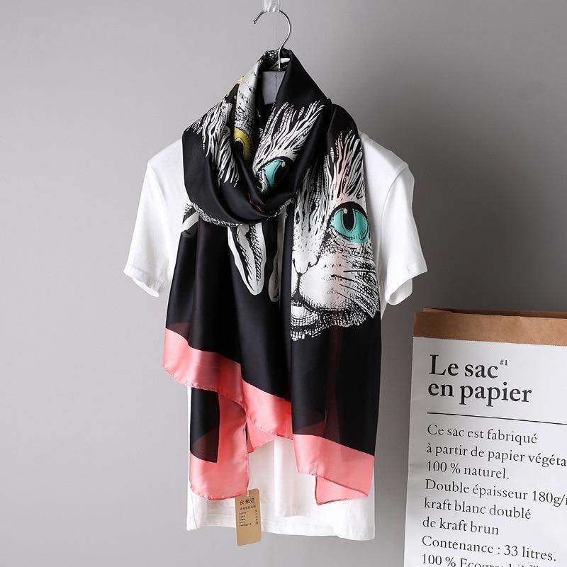 2019 Fashion Luxury Brand Women's Animal Scarf Lovely Cat Pattern Silk Shawls Soft Wrap Neck Snood Pashmina Foulards Hijab Caps